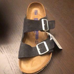 Birkenstock Arizona soft bed sandals gunmetal